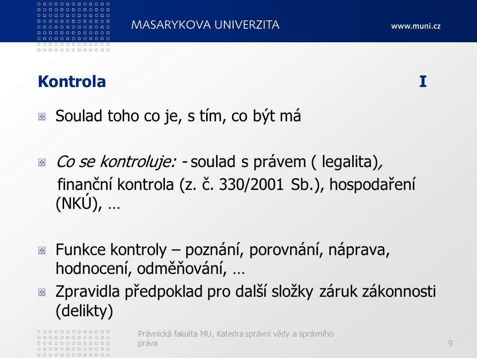 KontrolaI Soulad toho co je, s tím, co být má Co se kontroluje: - soulad s právem ( legalita), finanční kontrola (z.
