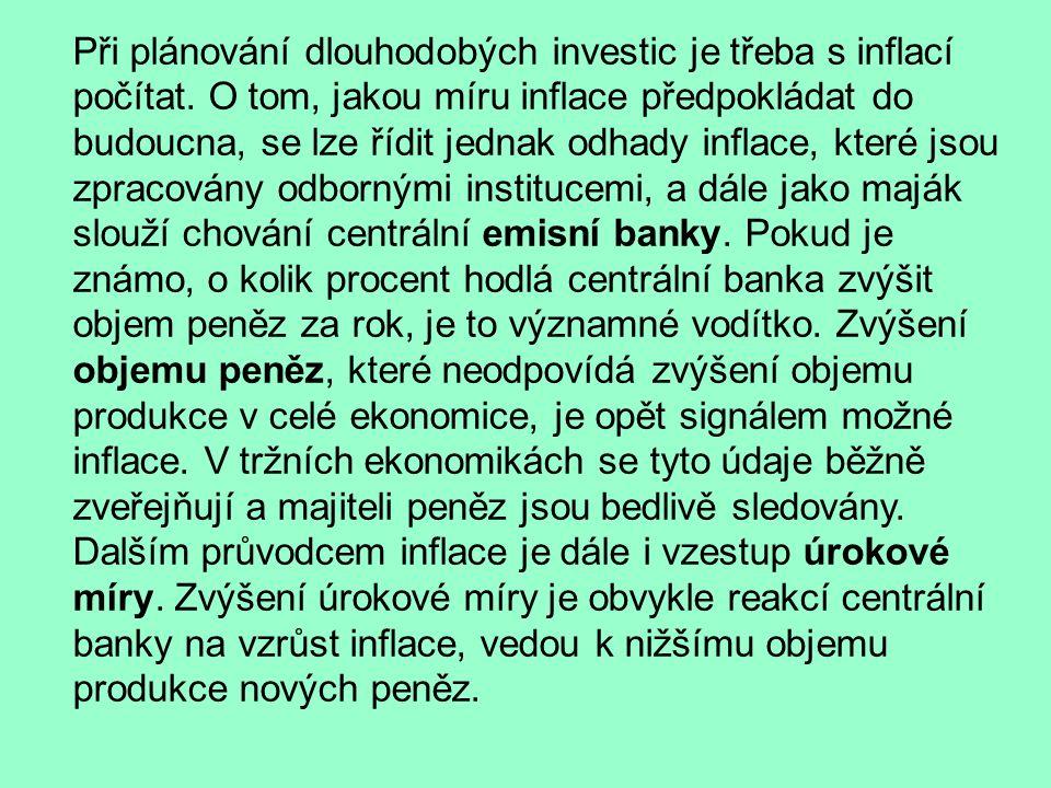 Při plánování dlouhodobých investic je třeba s inflací počítat.