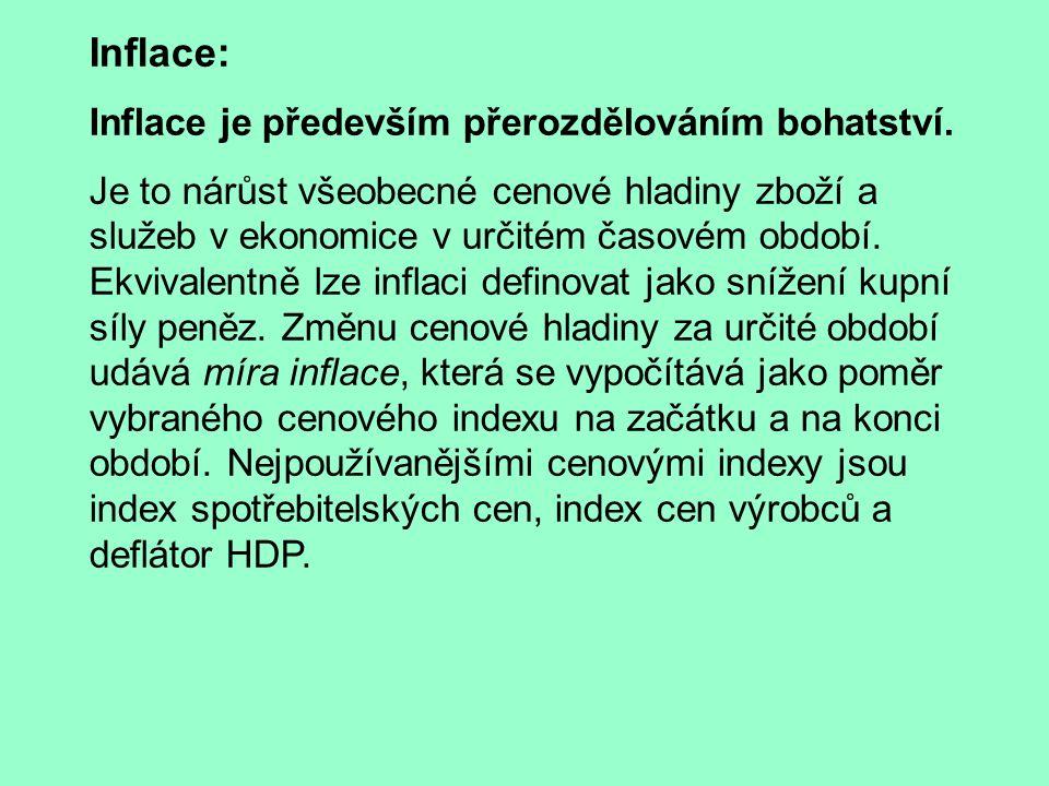 Inflace: Inflace je především přerozdělováním bohatství.