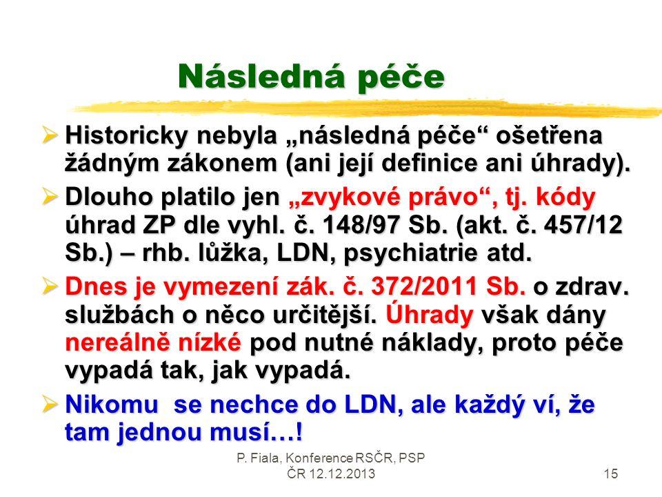 P.Fiala, Konference RSČR, PSP ČR 12.12.201316 Následná péče - úhrady  Násl.
