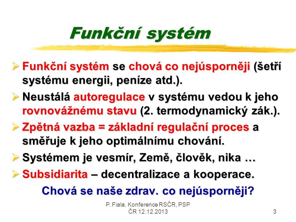 P. Fiala, Konference RSČR, PSP ČR 12.12.20133 Funkční systém  Funkční systém se chová co nejúsporněji (šetří systému energii, peníze atd.).  Neustál