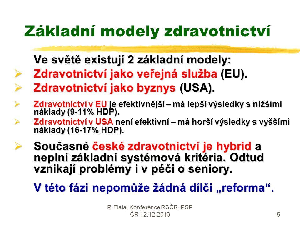 P. Fiala, Konference RSČR, PSP ČR 12.12.20135 Základní modely zdravotnictví Ve světě existují 2 základní modely:  Zdravotnictví jako veřejná služba (