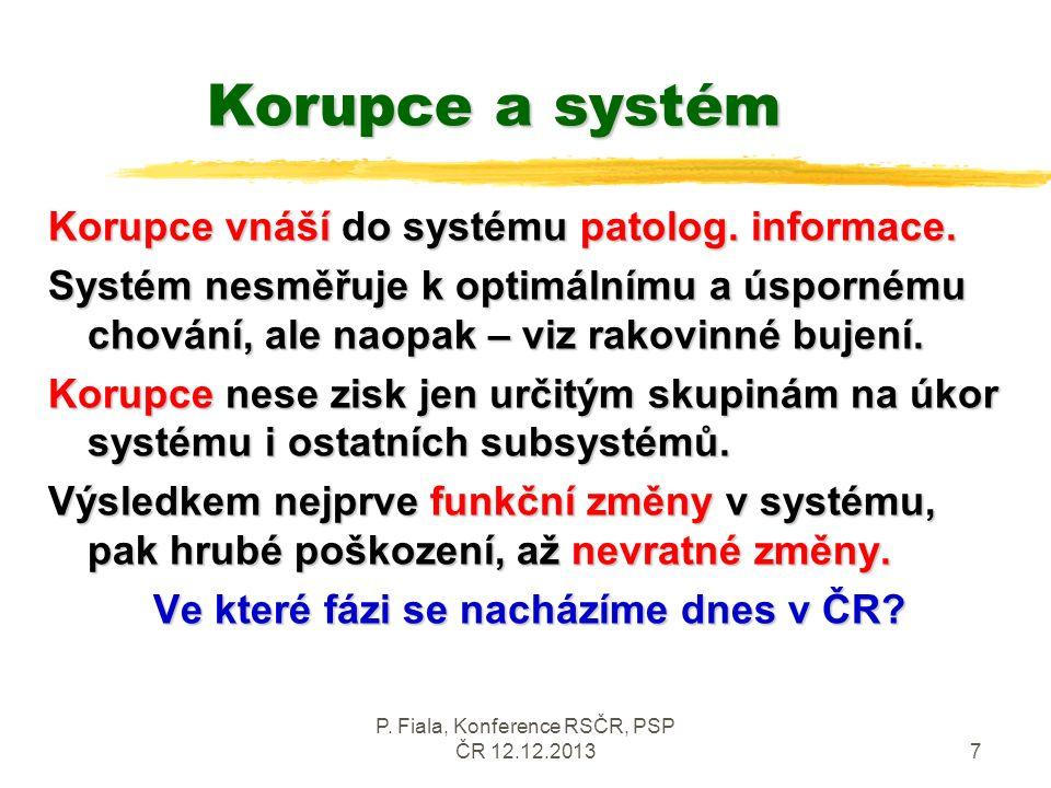 P. Fiala, Konference RSČR, PSP ČR 12.12.20137 Korupce a systém Korupce vnáší do systému patolog. informace. Systém nesměřuje k optimálnímu a úspornému