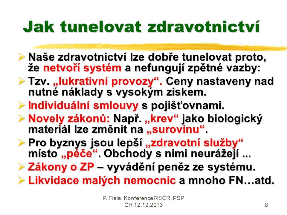 P. Fiala, Konference RSČR, PSP ČR 12.12.20138 Jak tunelovat zdravotnictví  Naše zdravotnictví lze dobře tunelovat proto, že netvoří systém a nefunguj