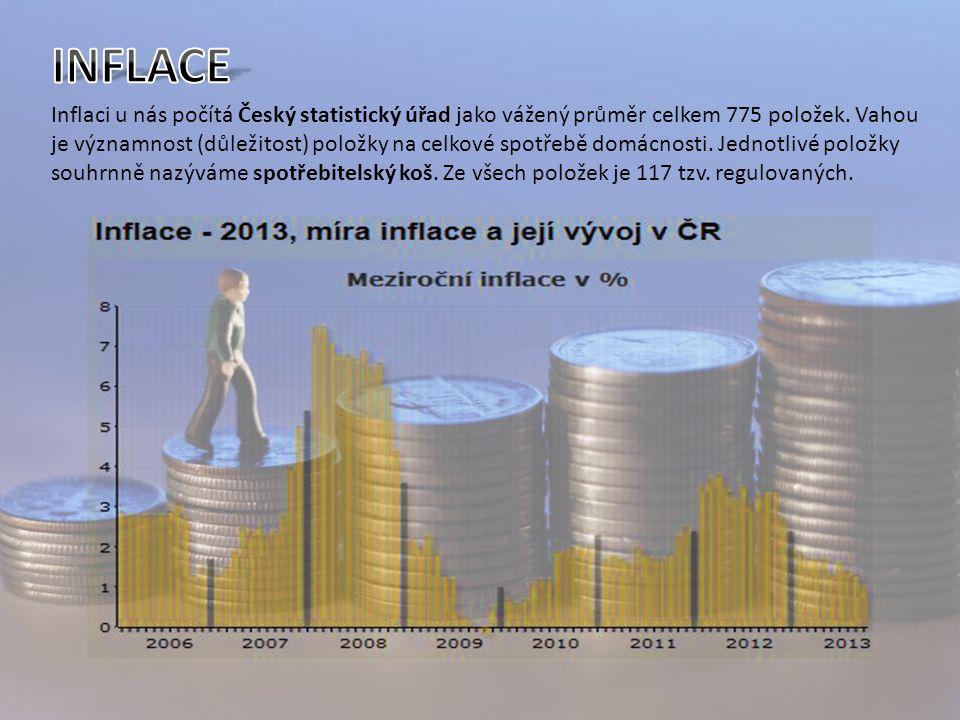 Inflaci u nás počítá Český statistický úřad jako vážený průměr celkem 775 položek.