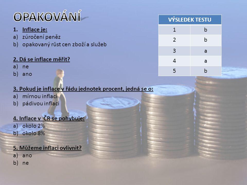 1.Inflace je: a)zúročení peněz b)opakovaný růst cen zboží a služeb 2.
