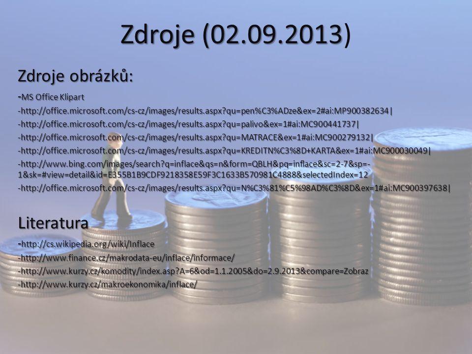 Zdroje (02.09.2013 Zdroje (02.09.2013) Zdroje obrázků: - MS Office Klipart -http://office.microsoft.com/cs-cz/images/results.aspx?qu=pen%C3%ADze&ex=2#ai:MP900382634|-http://office.microsoft.com/cs-cz/images/results.aspx?qu=palivo&ex=1#ai:MC900441737|-http://office.microsoft.com/cs-cz/images/results.aspx?qu=MATRACE&ex=1#ai:MC900279132|-http://office.microsoft.com/cs-cz/images/results.aspx?qu=KREDITN%C3%8D+KARTA&ex=1#ai:MC900030049| -http://www.bing.com/images/search?q=inflace&qs=n&form=QBLH&pq=inflace&sc=2-7&sp=- 1&sk=#view=detail&id=E355B1B9CDF9218358E59F3C1633B570981C4888&selectedIndex=12 -http://office.microsoft.com/cs-cz/images/results.aspx?qu=N%C3%81%C5%98AD%C3%8D&ex=1#ai:MC900397638|Literatura - http://cs.wikipedia.org/wiki/Inflace -http://www.finance.cz/makrodata-eu/inflace/informace/-http://www.kurzy.cz/komodity/index.asp?A=6&od=1.1.2005&do=2.9.2013&compare=Zobraz-http://www.kurzy.cz/makroekonomika/inflace/
