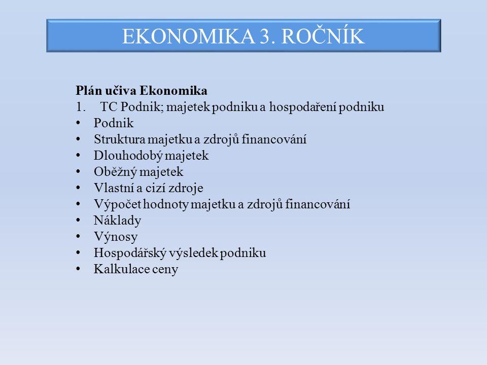 EKONOMIKA 3. ROČNÍK Plán učiva Ekonomika 1.TC Podnik; majetek podniku a hospodaření podniku Podnik Struktura majetku a zdrojů financování Dlouhodobý m