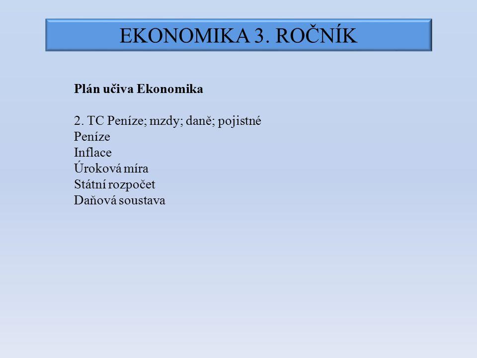 EKONOMIKA 3. ROČNÍK Plán učiva Ekonomika 2. TC Peníze; mzdy; daně; pojistné Peníze Inflace Úroková míra Státní rozpočet Daňová soustava