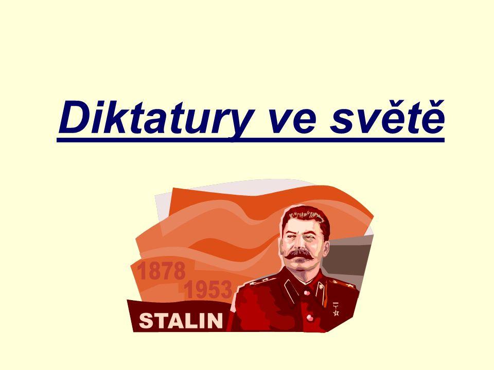 Diktatura je autoritativní (nedemokratická) forma vlády Politická moc je neomezeně držena diktátorem nebo politickou skupinou.