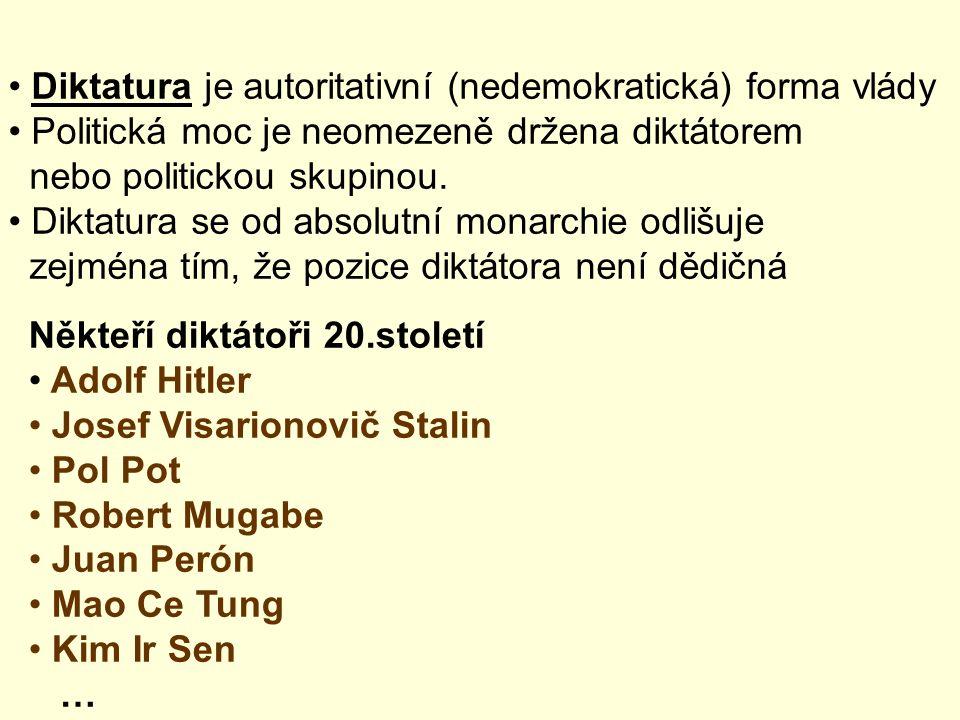 Diktatura je autoritativní (nedemokratická) forma vlády Politická moc je neomezeně držena diktátorem nebo politickou skupinou. Diktatura se od absolut