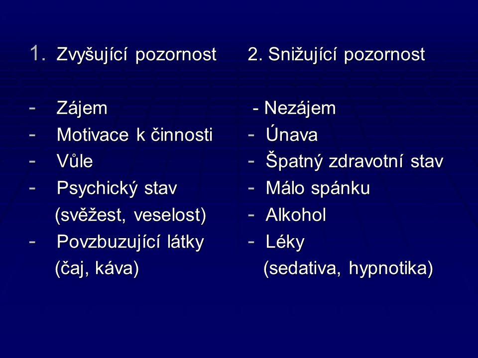 1. Zvyšující pozornost - Zájem - Motivace k činnosti - Vůle - Psychický stav (svěžest, veselost) (svěžest, veselost) - Povzbuzující látky (čaj, káva)