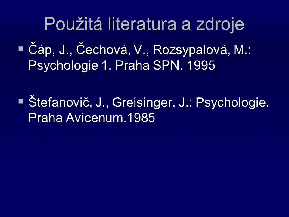Použitá literatura a zdroje  Čáp, J., Čechová, V., Rozsypalová, M.: Psychologie 1.