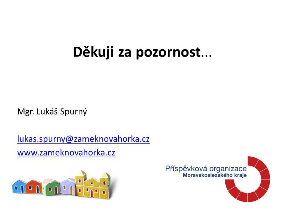 Děkuji za pozornost... Mgr. Lukáš Spurný lukas.spurny@zameknovahorka.cz www.zameknovahorka.cz