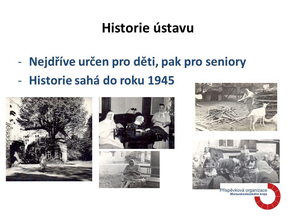 Historie ústavu -Nejdříve určen pro děti, pak pro seniory -Historie sahá do roku 1945