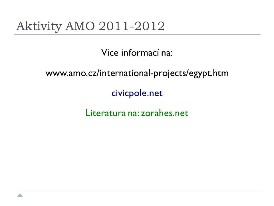 Aktivity AMO 2011-2012 Více informací na: www.amo.cz/international-projects/egypt.htm civicpole.net Literatura na: zorahes.net