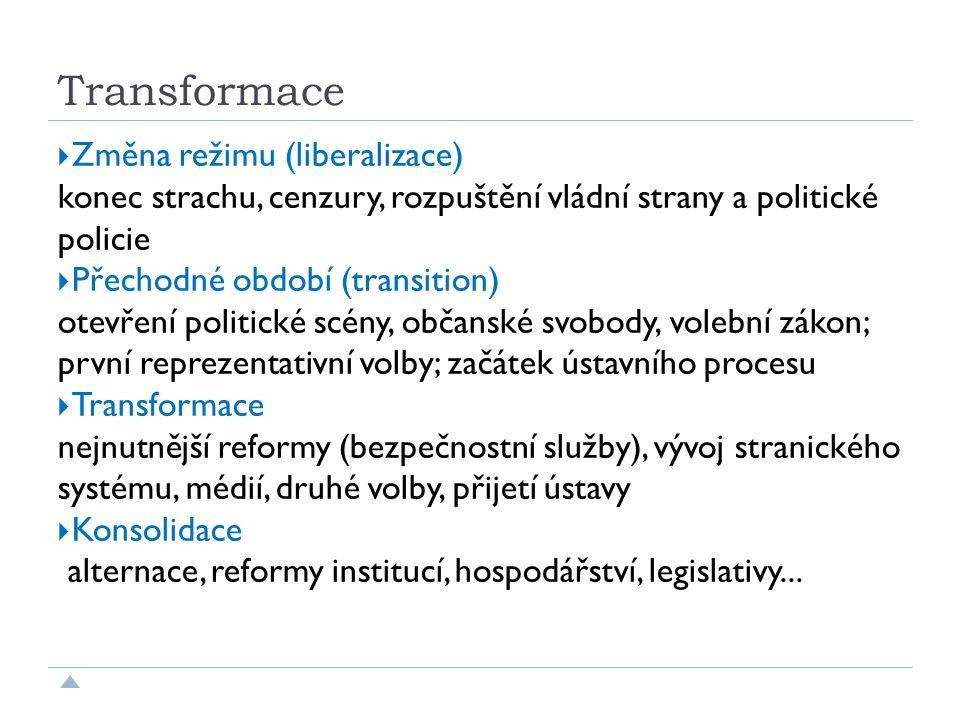 Transformace  Změna režimu (liberalizace) konec strachu, cenzury, rozpuštění vládní strany a politické policie  Přechodné období (transition) otevření politické scény, občanské svobody, volební zákon; první reprezentativní volby; začátek ústavního procesu  Transformace nejnutnější reformy (bezpečnostní služby), vývoj stranického systému, médií, druhé volby, přijetí ústavy  Konsolidace alternace, reformy institucí, hospodářství, legislativy...