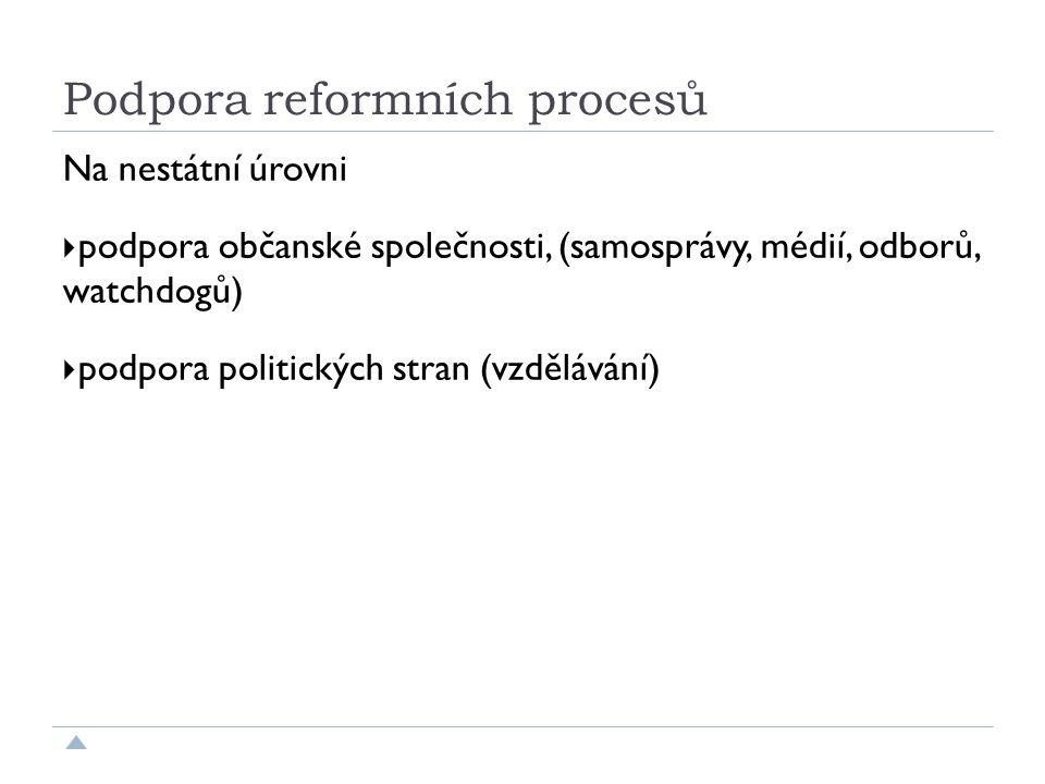 Podpora reformních procesů Na nestátní úrovni  podpora občanské společnosti, (samosprávy, médií, odborů, watchdogů)  podpora politických stran (vzdělávání)