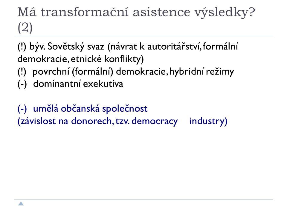 Má transformační asistence výsledky. (2) (!) býv.