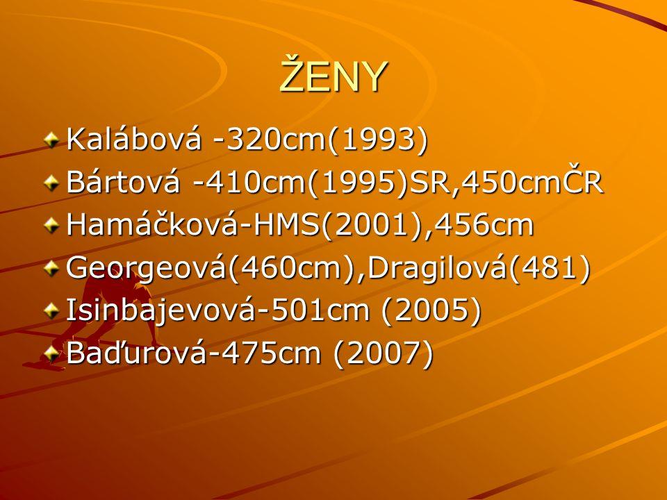 ŽENY Kalábová -320cm(1993) Bártová -410cm(1995)SR,450cmČR Hamáčková-HMS(2001),456cmGeorgeová(460cm),Dragilová(481) Isinbajevová-501cm (2005) Baďurová-475cm (2007)