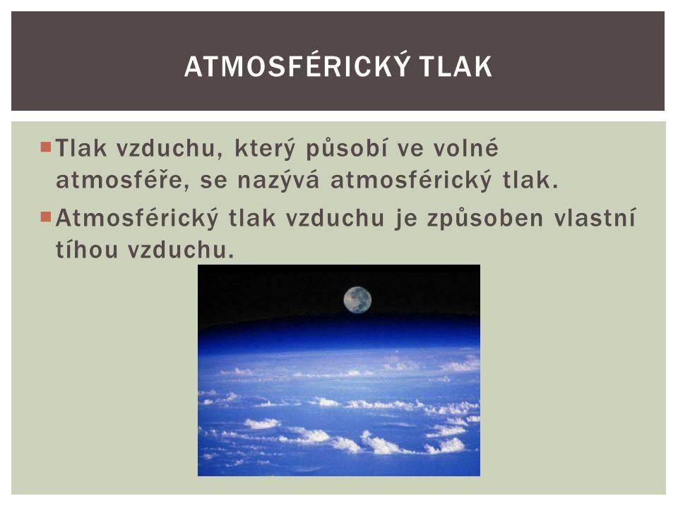  Tlak vzduchu, který působí ve volné atmosféře, se nazývá atmosférický tlak.  Atmosférický tlak vzduchu je způsoben vlastní tíhou vzduchu. ATMOSFÉRI