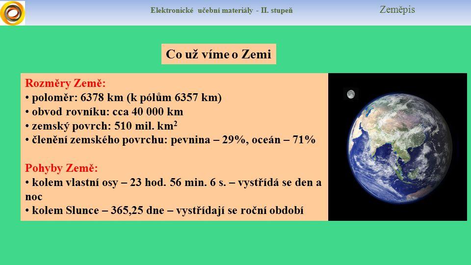 Elektronické učební materiály - II. stupeň Zeměpis Co už víme o Zemi Rozměry Země: poloměr: 6378 km (k pólům 6357 km) obvod rovníku: cca 40 000 km zem