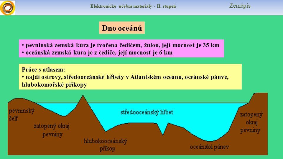 Elektronické učební materiály - II. stupeň Zeměpis pevninská zemská kůra je tvořena čedičem, žulou, její mocnost je 35 km oceánská zemská kůra je z če