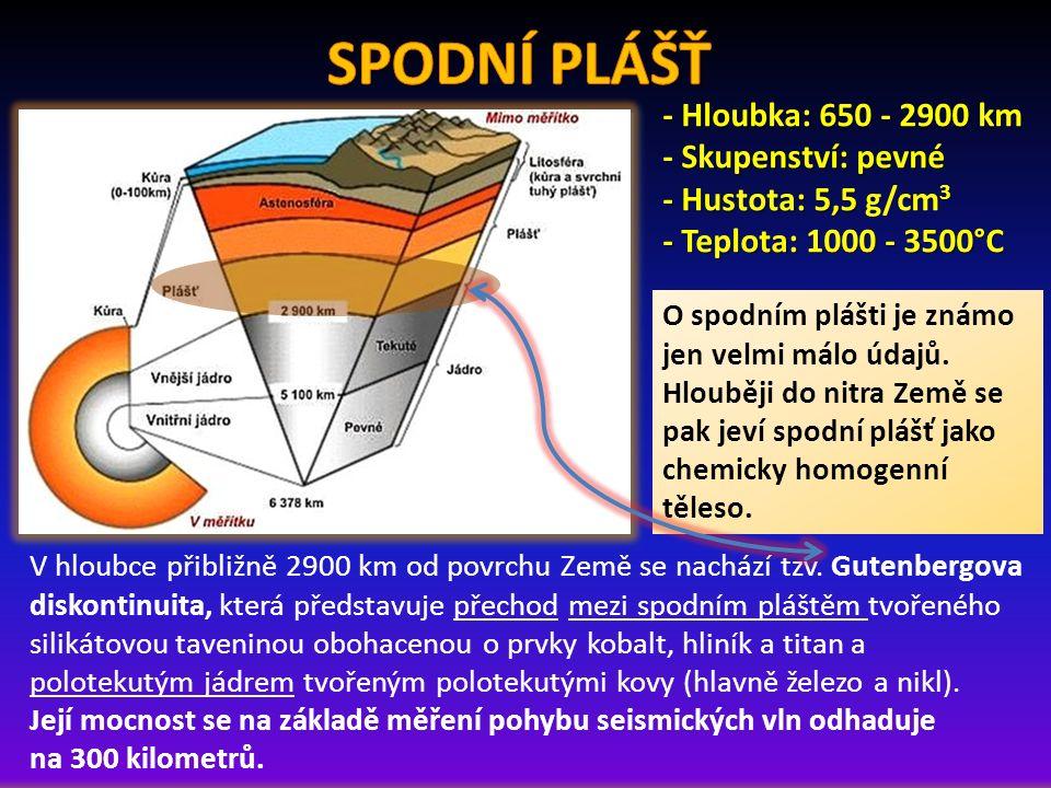O spodním plášti je známo jen velmi málo údajů. Hlouběji do nitra Země se pak jeví spodní plášť jako chemicky homogenní těleso. - Hloubka: 650 - 2900