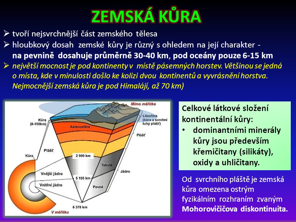  tvoří nejsvrchnější část zemského tělesa  hloubkový dosah zemské kůry je různý s ohledem na její charakter - na pevnině dosahuje průměrně 30-40 km, pod oceány pouze 6-15 km  největší mocnost je pod kontinenty v místě pásemných horstev.