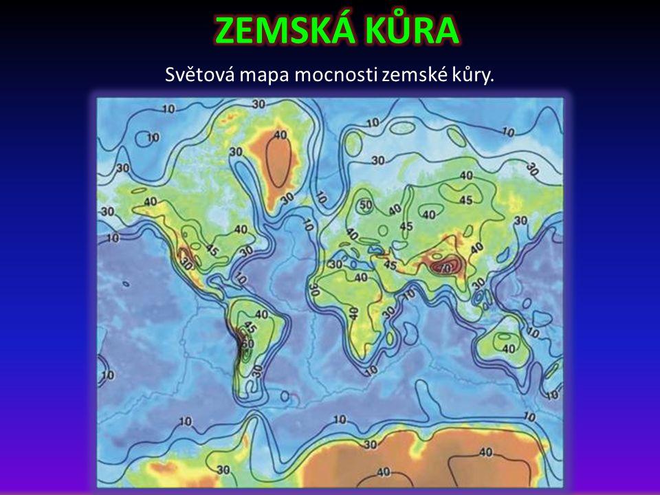 Světová mapa mocnosti zemské kůry.