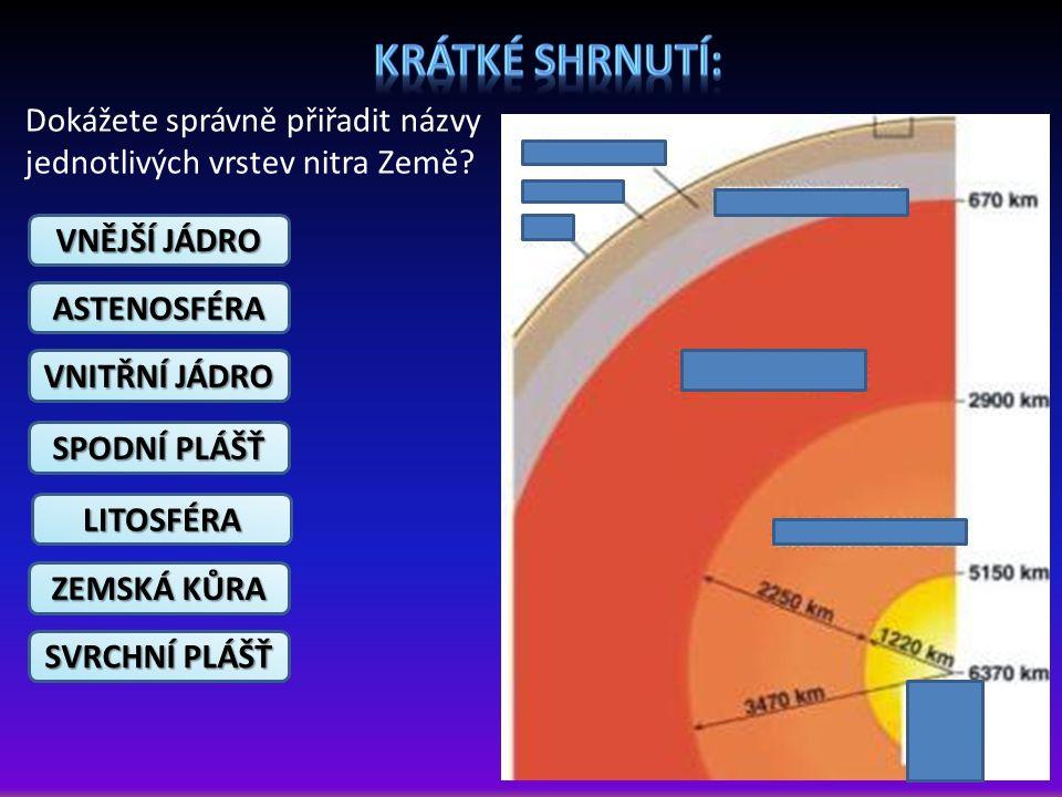 VNĚJŠÍ JÁDRO Dokážete správně přiřadit názvy jednotlivých vrstev nitra Země? ASTENOSFÉRA VNITŘNÍ JÁDRO SPODNÍ PLÁŠŤ LITOSFÉRA ZEMSKÁ KŮRA SVRCHNÍ PLÁŠ
