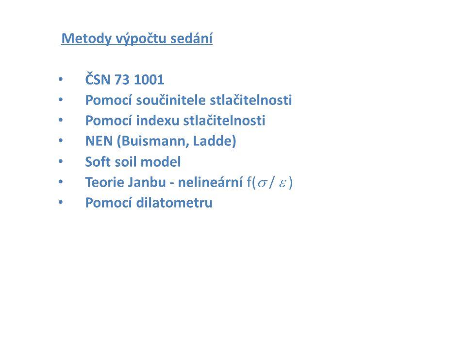 Metody výpočtu sedání ČSN 73 1001 Pomocí součinitele stlačitelnosti Pomocí indexu stlačitelnosti NEN (Buismann, Ladde) Soft soil model Teorie Janbu - nelineární f(  /  ) Pomocí dilatometru Zakládání staveb Brno 2006