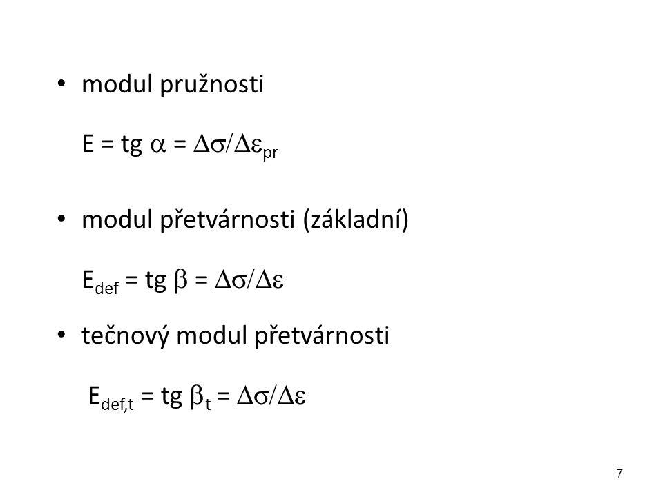7 modul pružnosti E = tg  =  pr modul přetvárnosti (základní) E def = tg  =  tečnový modul přetvárnosti E def,t = tg  t = 