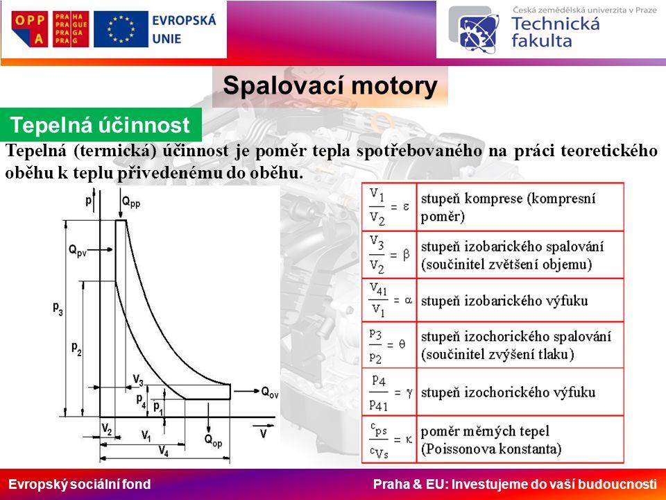 Evropský sociální fond Praha & EU: Investujeme do vaší budoucnosti Spalovací motory Tepelná účinnost Tepelná (termická) účinnost je poměr tepla spotře