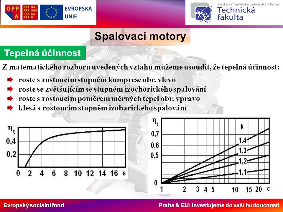 Evropský sociální fond Praha & EU: Investujeme do vaší budoucnosti Spalovací motory Tepelná účinnost Z matematického rozboru uvedených vztahů můžeme u