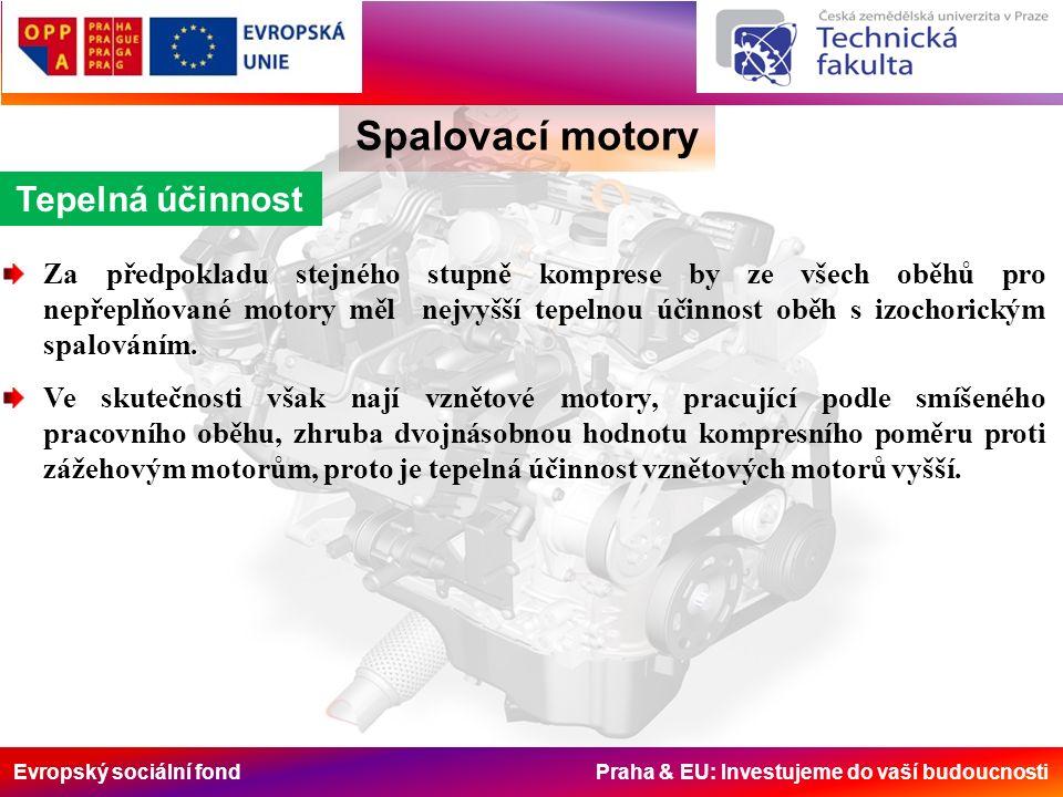 Evropský sociální fond Praha & EU: Investujeme do vaší budoucnosti Spalovací motory Tepelná účinnost Za předpokladu stejného stupně komprese by ze vše