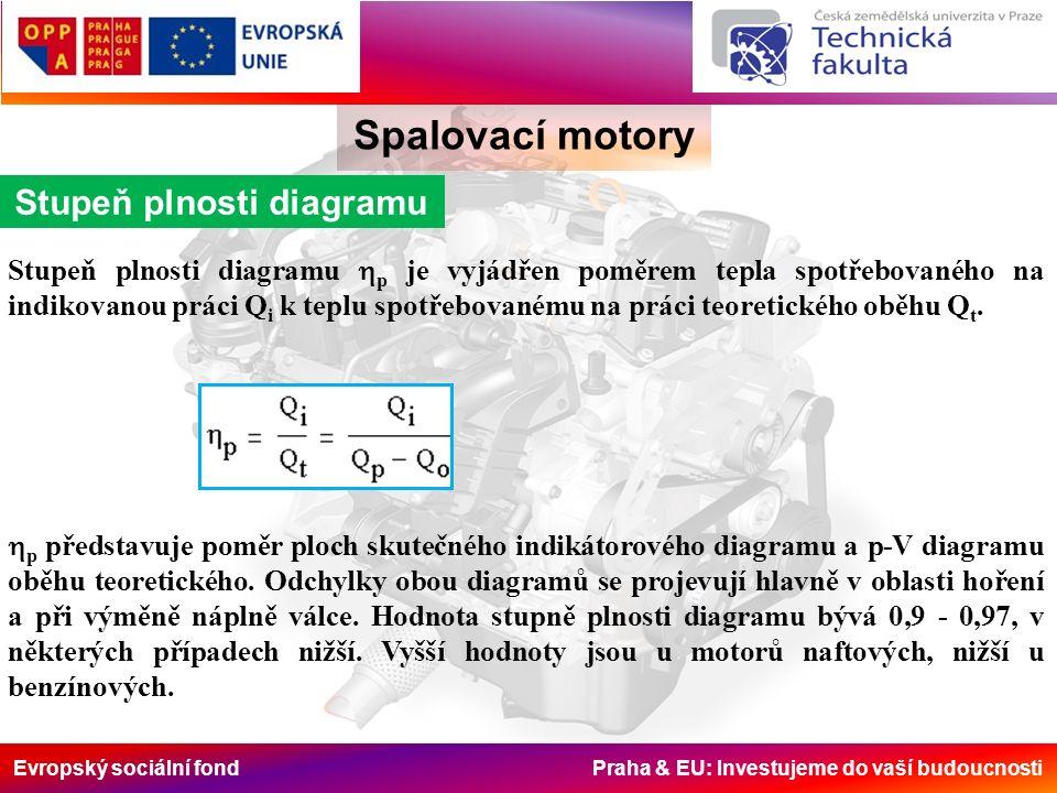 Evropský sociální fond Praha & EU: Investujeme do vaší budoucnosti Spalovací motory Stupeň plnosti diagramu Stupeň plnosti diagramu  p je vyjádřen poměrem tepla spotřebovaného na indikovanou práci Q i k teplu spotřebovanému na práci teoretického oběhu Q t.