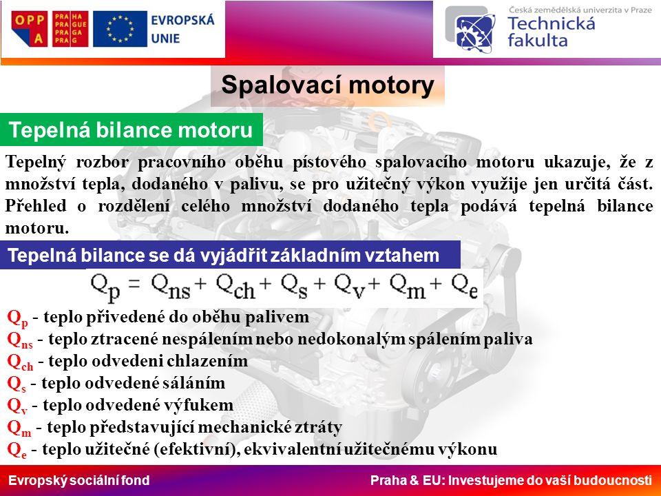 Evropský sociální fond Praha & EU: Investujeme do vaší budoucnosti Spalovací motory Tepelná bilance motoru Tepelný rozbor pracovního oběhu pístového spalovacího motoru ukazuje, že z množství tepla, dodaného v palivu, se pro užitečný výkon využije jen určitá část.