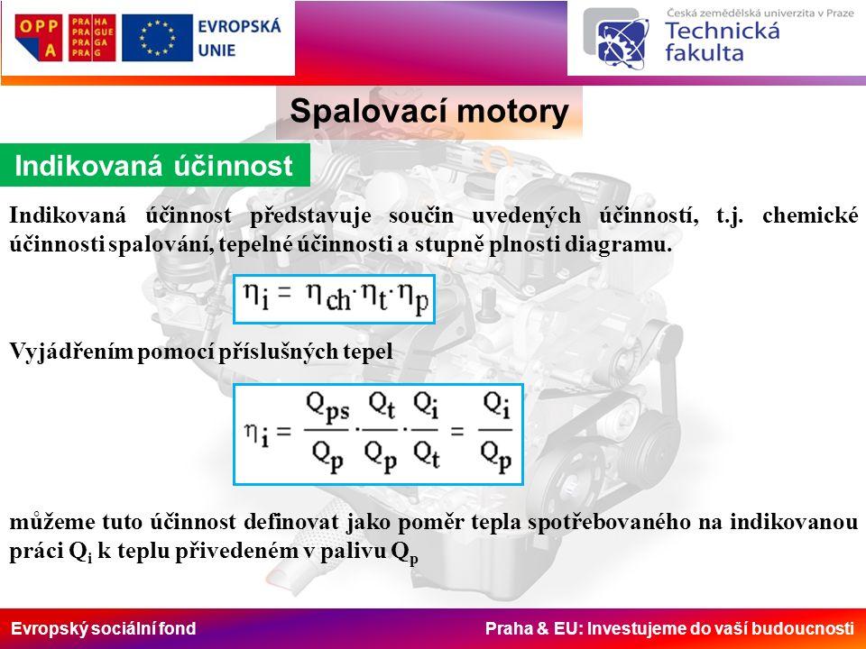Evropský sociální fond Praha & EU: Investujeme do vaší budoucnosti Spalovací motory Indikovaná účinnost Indikovaná účinnost představuje součin uvedených účinností, t.j.