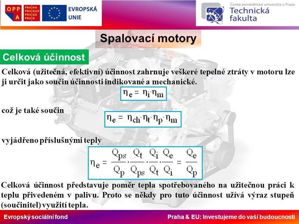 Evropský sociální fond Praha & EU: Investujeme do vaší budoucnosti Spalovací motory Celková účinnost Celková (užitečná, efektivní) účinnost zahrnuje v