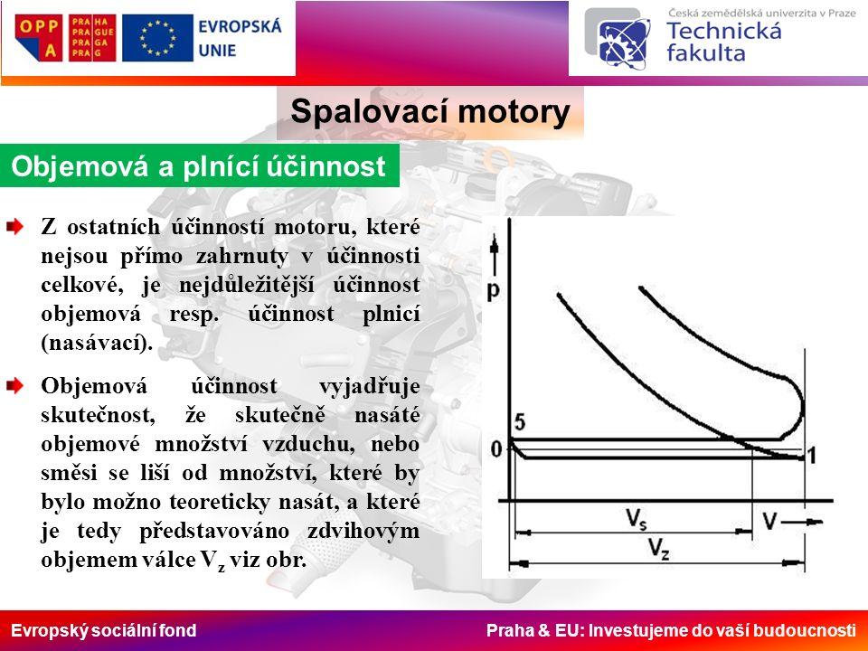 Evropský sociální fond Praha & EU: Investujeme do vaší budoucnosti Spalovací motory Objemová a plnící účinnost Z ostatních účinností motoru, které nej