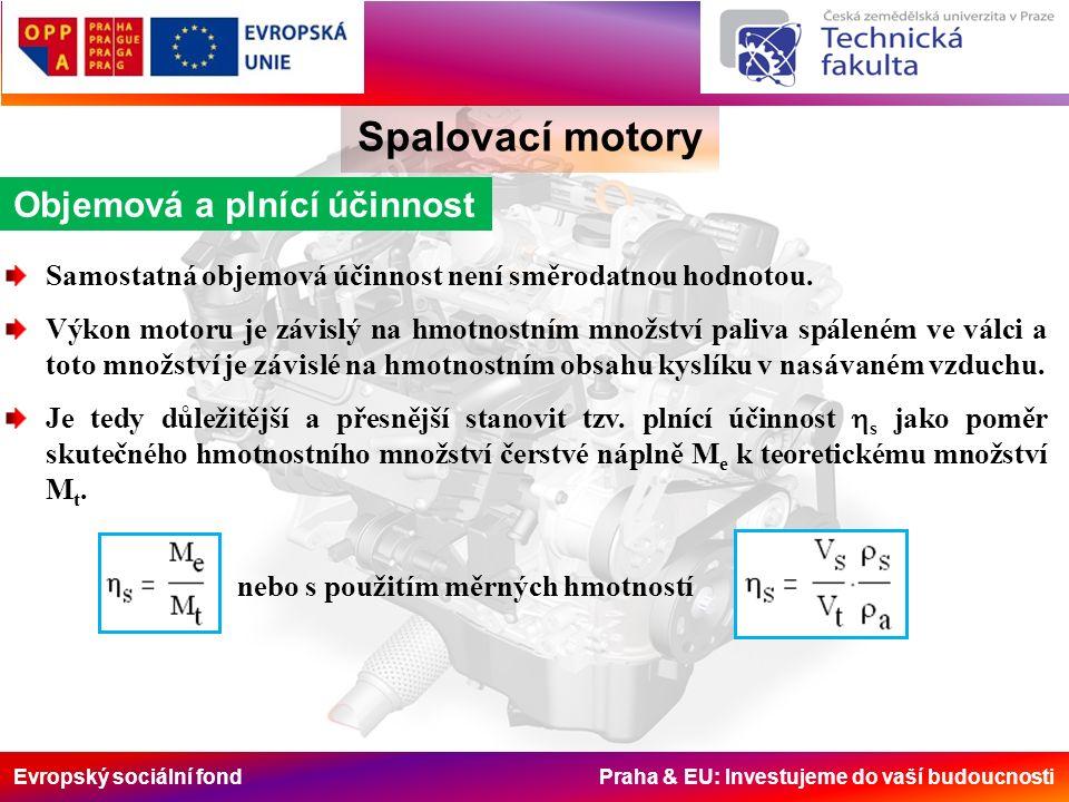Evropský sociální fond Praha & EU: Investujeme do vaší budoucnosti Spalovací motory Objemová a plnící účinnost Samostatná objemová účinnost není směro