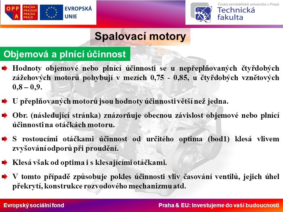 Evropský sociální fond Praha & EU: Investujeme do vaší budoucnosti Spalovací motory Objemová a plnící účinnost Hodnoty objemové nebo plnící účinnosti