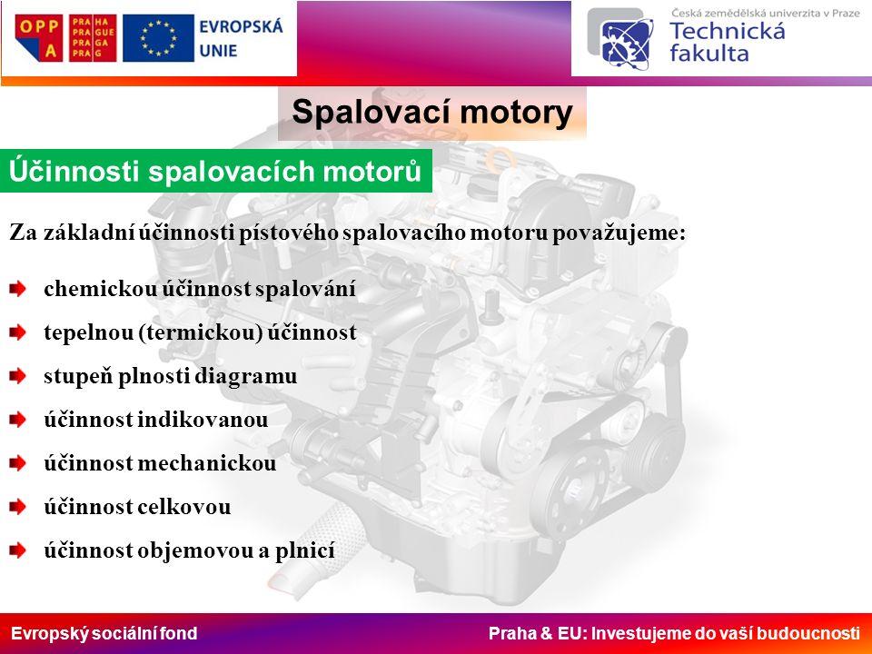 Evropský sociální fond Praha & EU: Investujeme do vaší budoucnosti Spalovací motory Objemová a plnící účinnost Z ostatních účinností motoru, které nejsou přímo zahrnuty v účinnosti celkové, je nejdůležitější účinnost objemová resp.