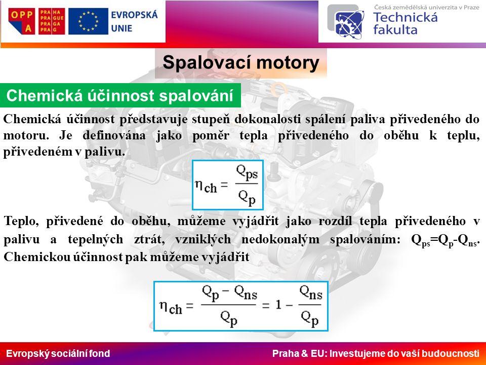 Evropský sociální fond Praha & EU: Investujeme do vaší budoucnosti Spalovací motory Chemická účinnost spalování Hodnoty chemické účinnosti se stanoví na základě rozboru výfukových plynů, např.