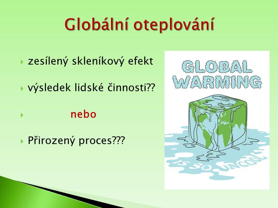  zesílený skleníkový efekt  výsledek lidské činnosti??  nebo  Přirozený proces???