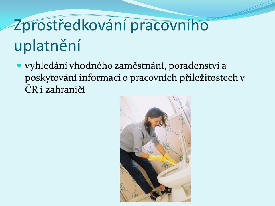 Zprostředkování pracovního uplatnění vyhledání vhodného zaměstnání, poradenství a poskytování informací o pracovních příležitostech v ČR i zahraničí