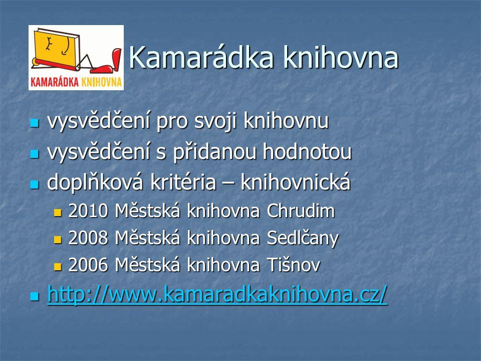 Kamarádka knihovna Kamarádka knihovna vysvědčení pro svoji knihovnu vysvědčení pro svoji knihovnu vysvědčení s přidanou hodnotou vysvědčení s přidanou hodnotou doplňková kritéria – knihovnická doplňková kritéria – knihovnická 2010 Městská knihovna Chrudim 2010 Městská knihovna Chrudim 2008 Městská knihovna Sedlčany 2008 Městská knihovna Sedlčany 2006 Městská knihovna Tišnov 2006 Městská knihovna Tišnov http://www.kamaradkaknihovna.cz/ http://www.kamaradkaknihovna.cz/ http://www.kamaradkaknihovna.cz/