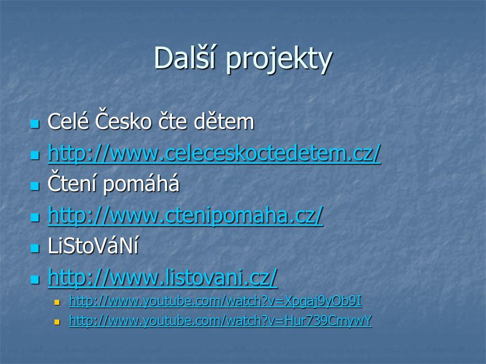 Další projekty Celé Česko čte dětem Celé Česko čte dětem http://www.celeceskoctedetem.cz/ http://www.celeceskoctedetem.cz/ http://www.celeceskoctedetem.cz/ Čtení pomáhá Čtení pomáhá http://www.ctenipomaha.cz/ http://www.ctenipomaha.cz/ http://www.ctenipomaha.cz/ LiStoVáNí LiStoVáNí http://www.listovani.cz/ http://www.listovani.cz/ http://www.listovani.cz/ http://www.youtube.com/watch?v=Xpgaj9yOb9I http://www.youtube.com/watch?v=Xpgaj9yOb9I http://www.youtube.com/watch?v=Xpgaj9yOb9I http://www.youtube.com/watch?v=Hur739CmywY http://www.youtube.com/watch?v=Hur739CmywY http://www.youtube.com/watch?v=Hur739CmywY
