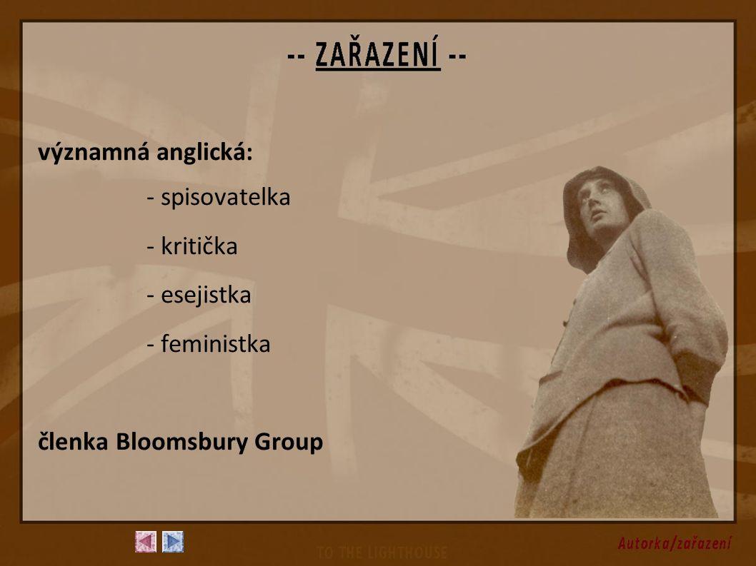 významná anglická: - spisovatelka - kritička - esejistka - feministka členka Bloomsbury Group
